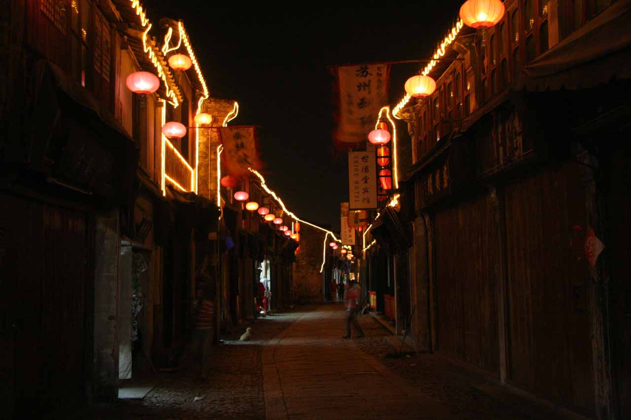 Charming lights in the quiet streets of Tongli