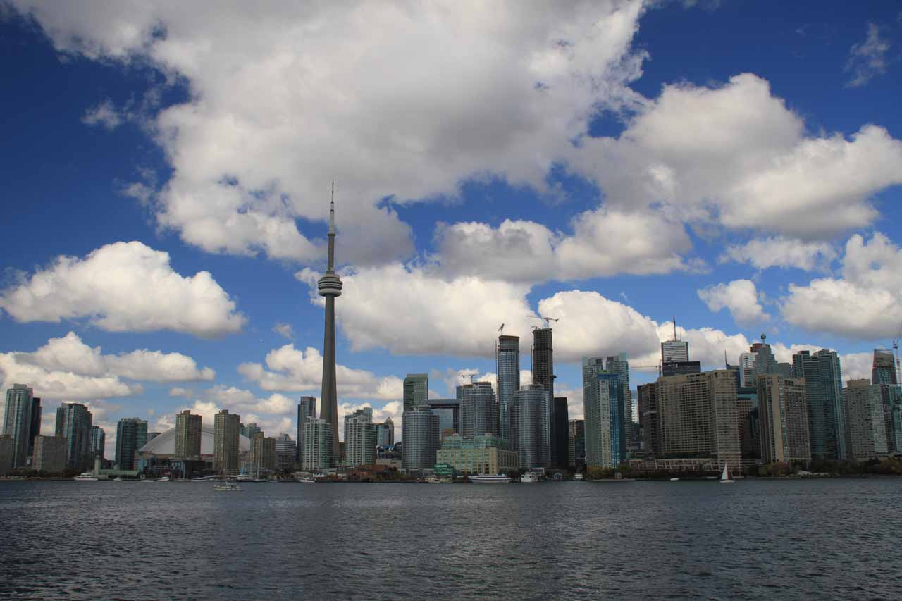 Looking back at the Toronto skyline as we were headed to Toronto Island