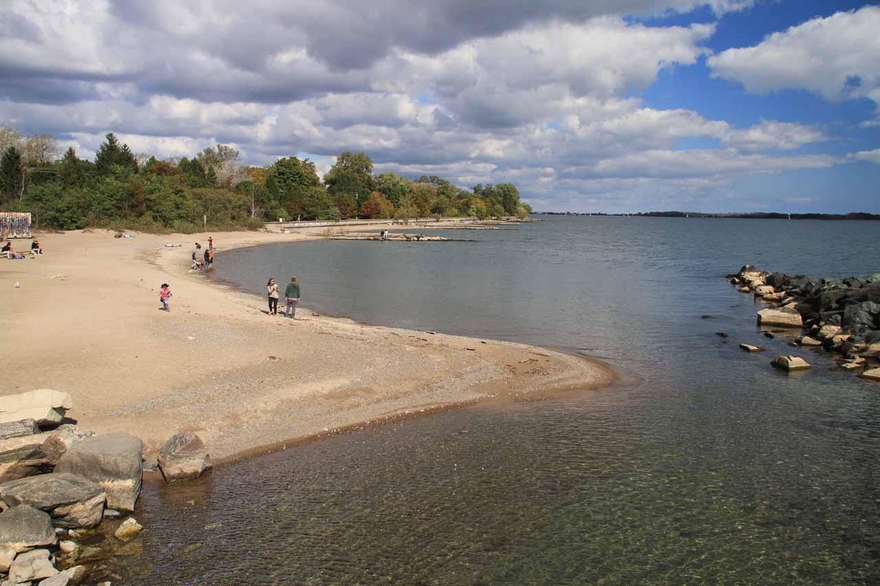 A beach on the far end of Toronto Island