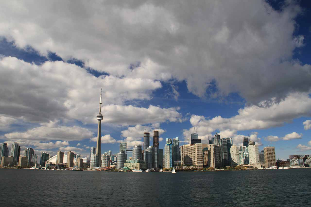 The Toronto Skyline as the boat was getting closer to the quay by downtown Toronto