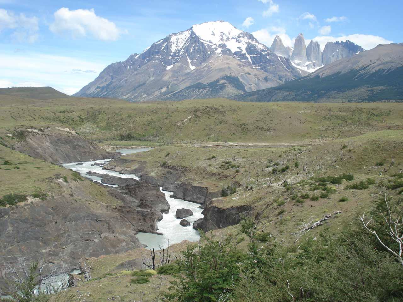 Cascades del Rio Paine fronting Las Torres del Paine