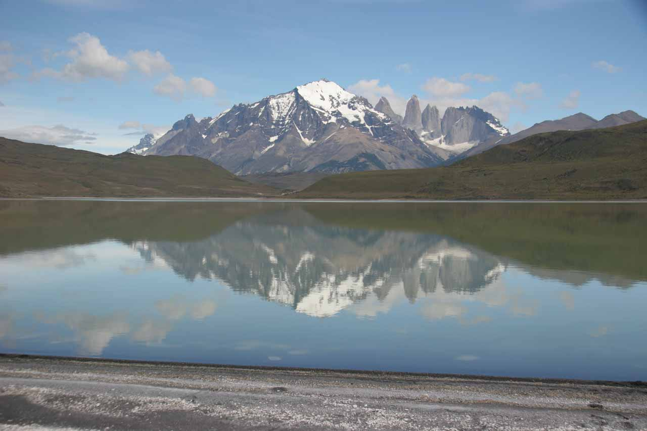 On the way to Torres del Paine, we were treated to gorgeous views of the towers as well as reflective lakes