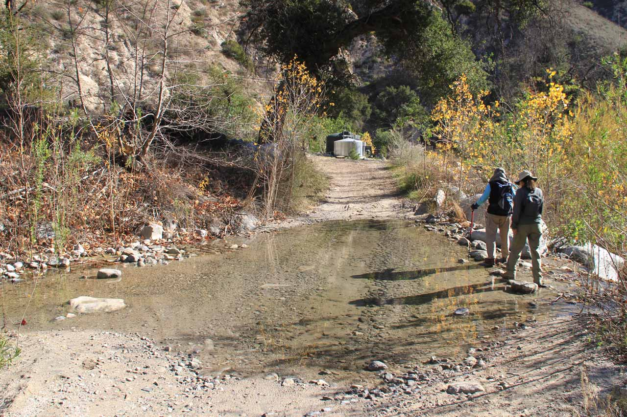 Crossing the ford in the access road