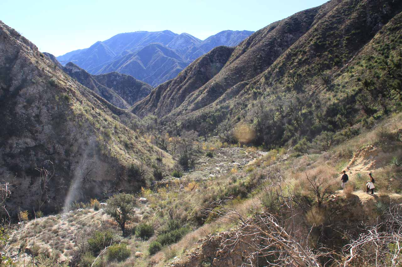 Looking back down Trail Canyon during the ascent