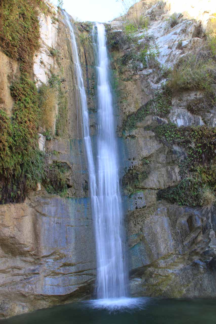 Trail Canyon Falls from a different angle at the edge of its shallow plunge pool