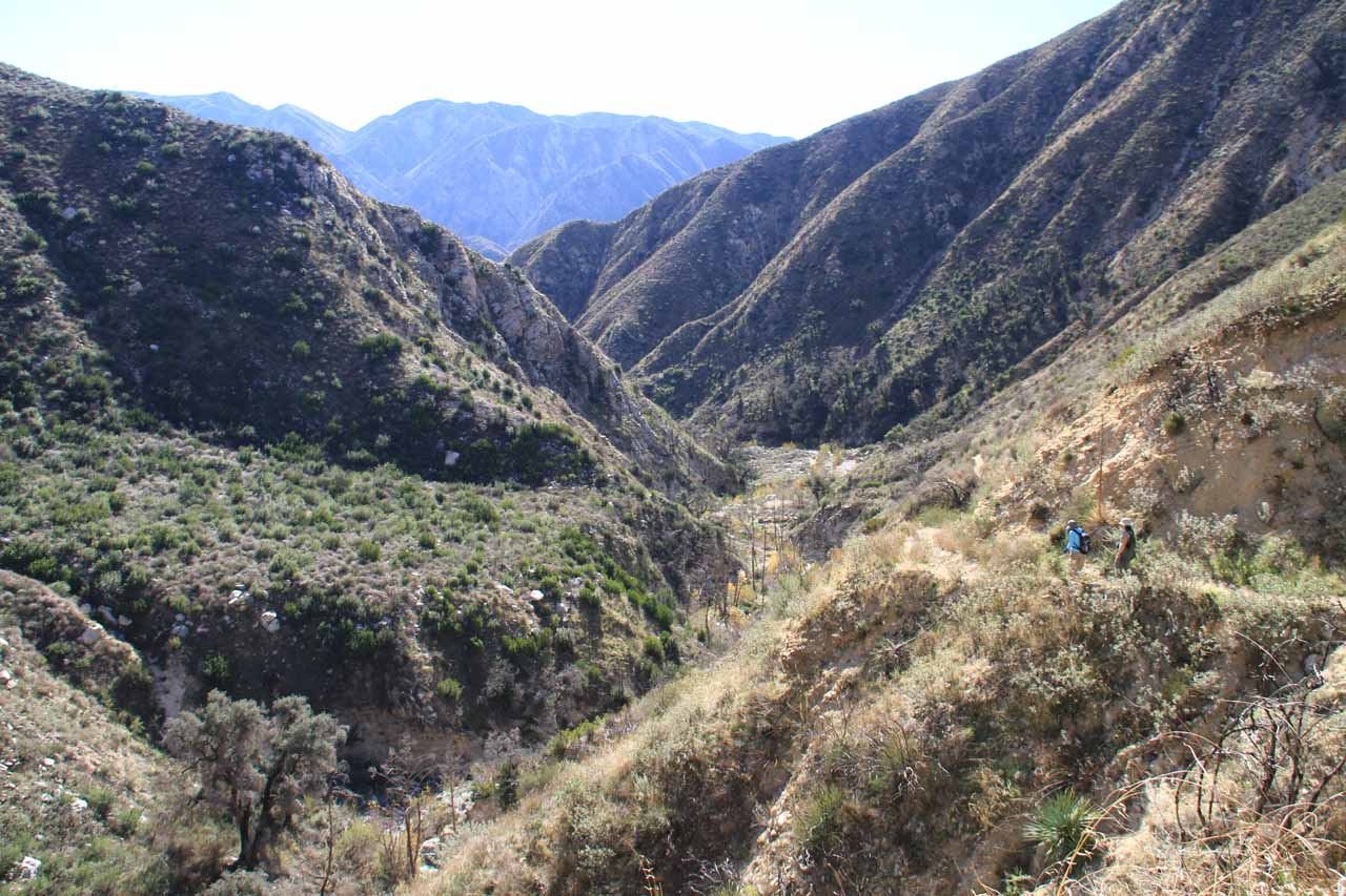 Looking down into Trail Canyon from the long ascending part of the trail