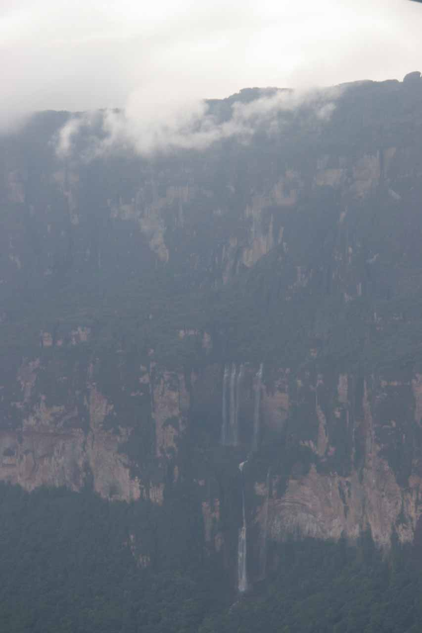 Ephemeral waterfall seen from the air in an Angel Falls overflight