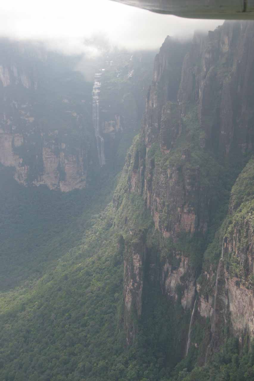 A pair of attractive waterfalls seen on the overflight to Angel Falls