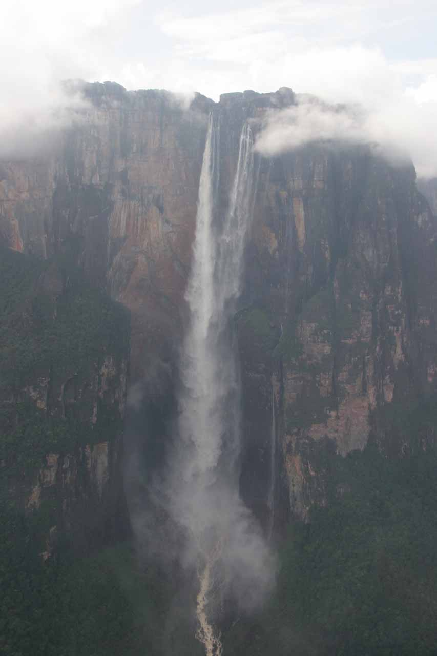 Looking directly at Angel Falls from the air