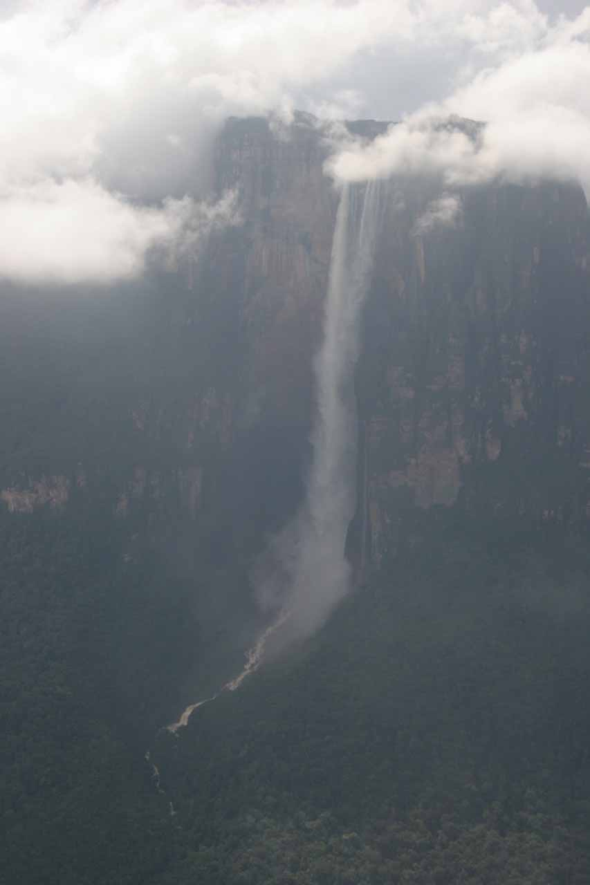 More angled aerial look at Angel Falls
