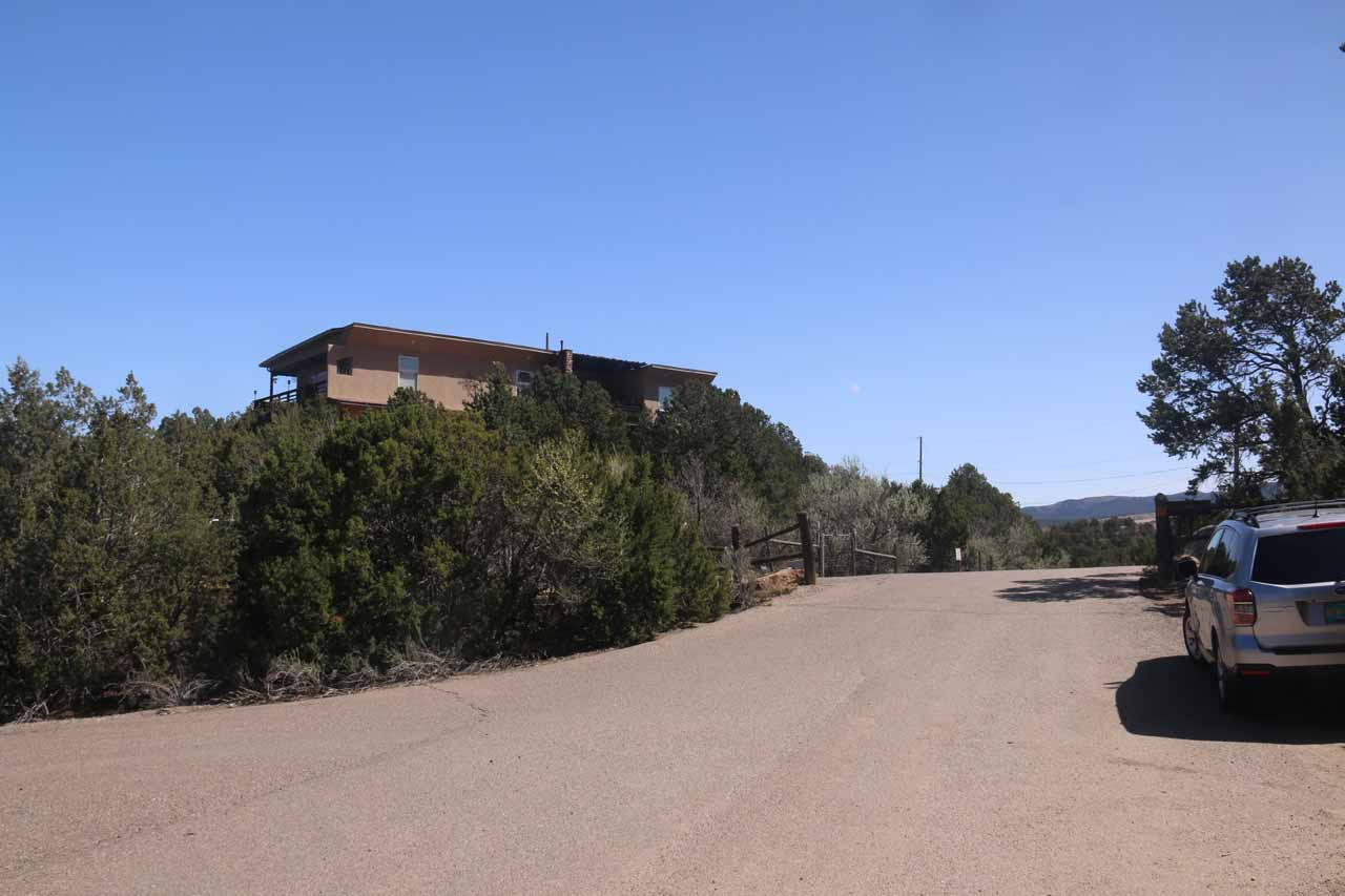 Looking back at some of the homes bordering the Cibola National Forest at the trailhead