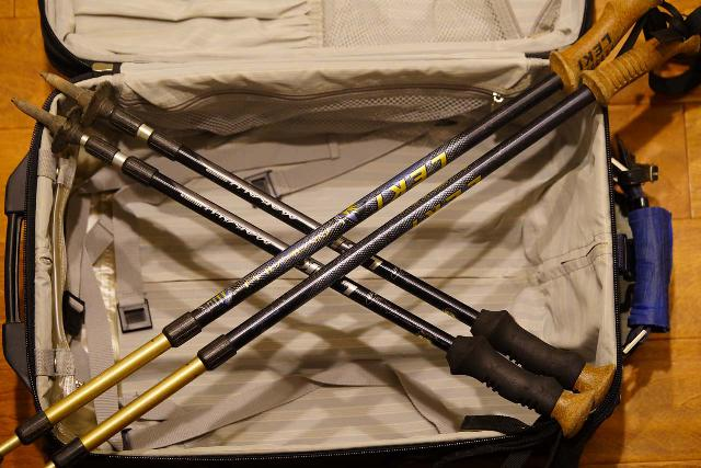 With the old trekking poles, they wouldn't fit into this carry-on-sized luggage, which disqualified them for use in any trip involving flights