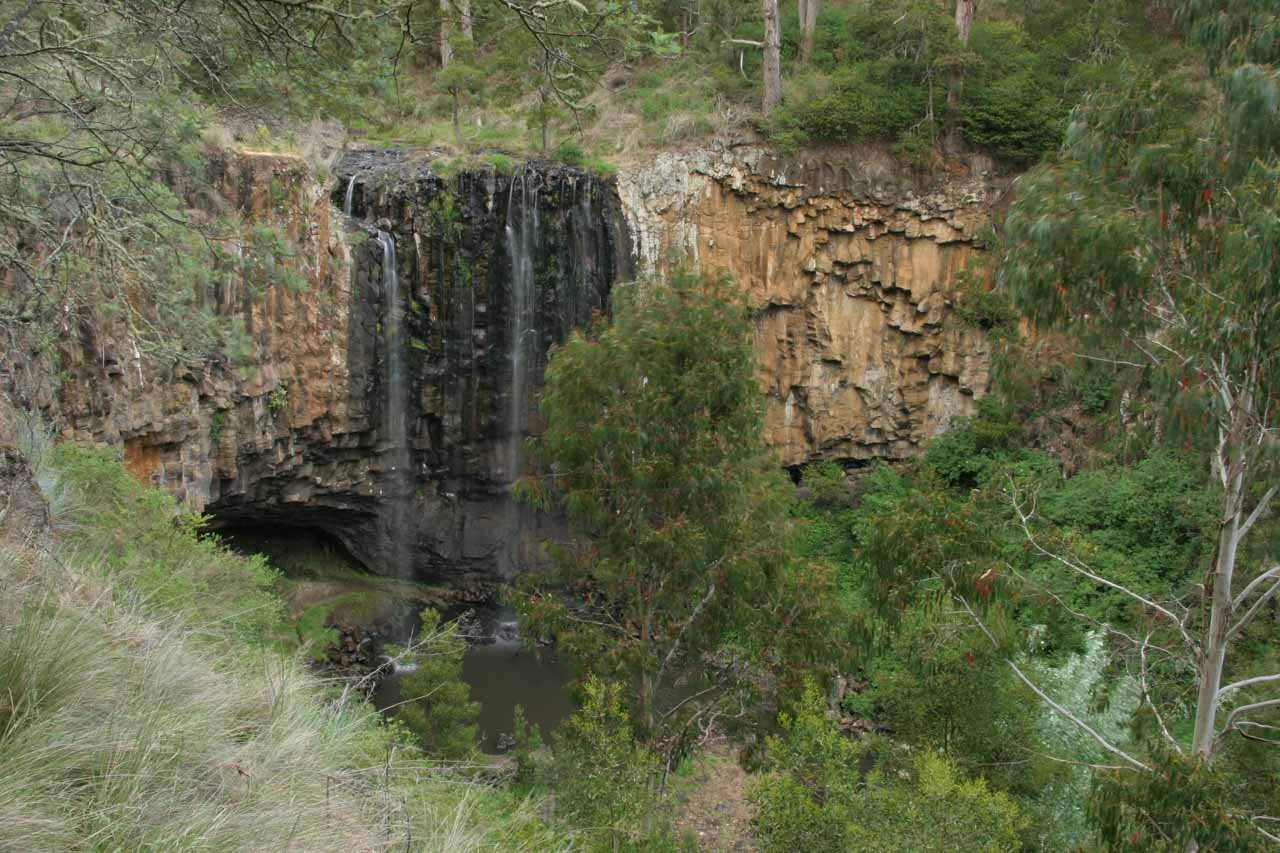 A full look at Trentham Falls from the overlook with disappointing flow in November 2006