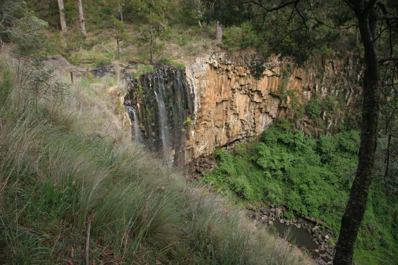 Looking down at the Trentham Falls from the cliff