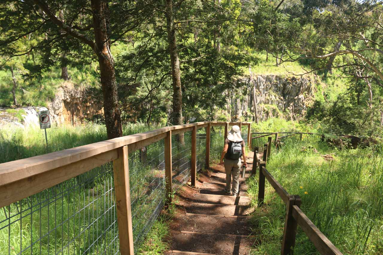 Julie following along the basalt cliffs towards the official viewpoint of the Trentham Falls