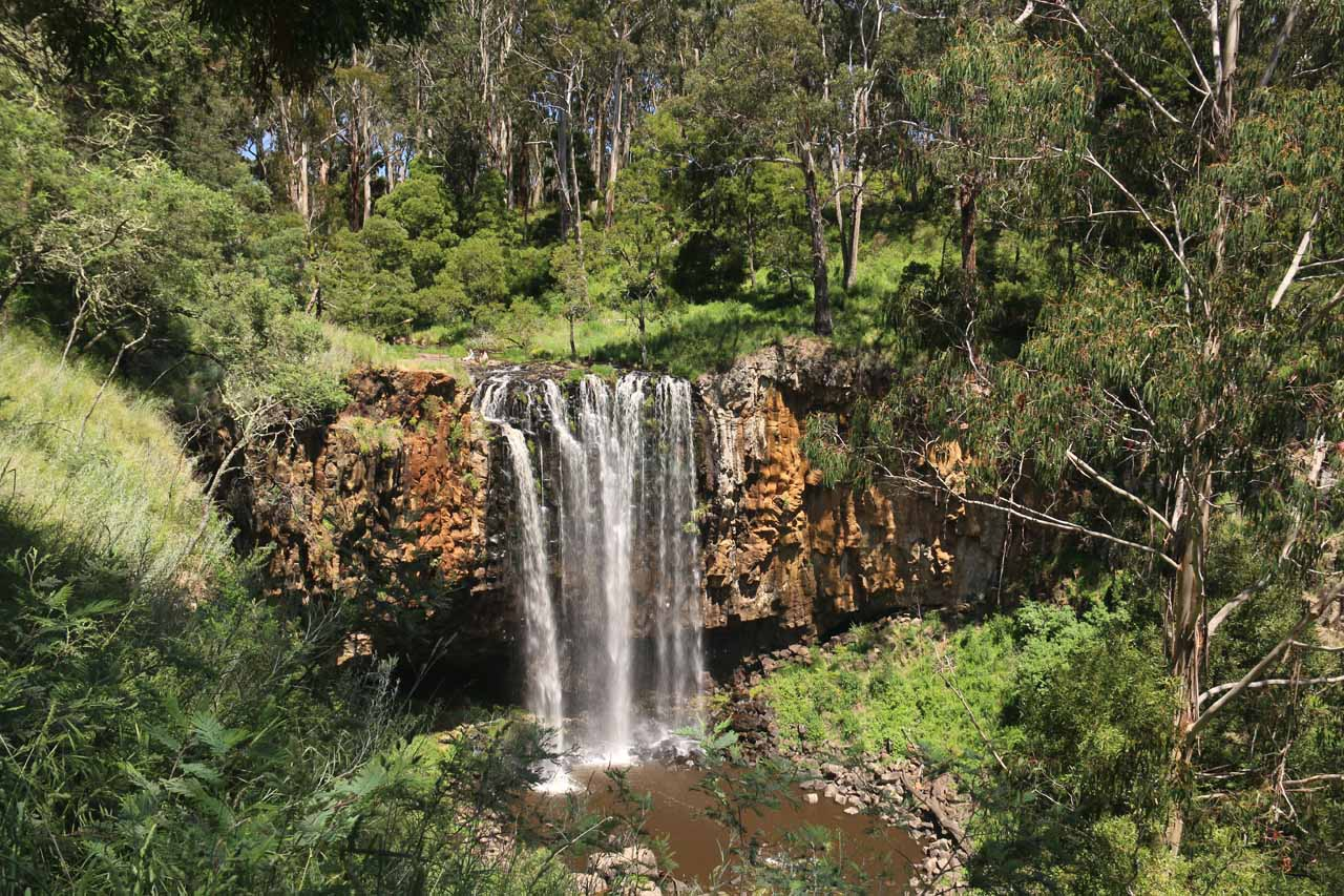 Broad view of Trentham Falls from the official lookout