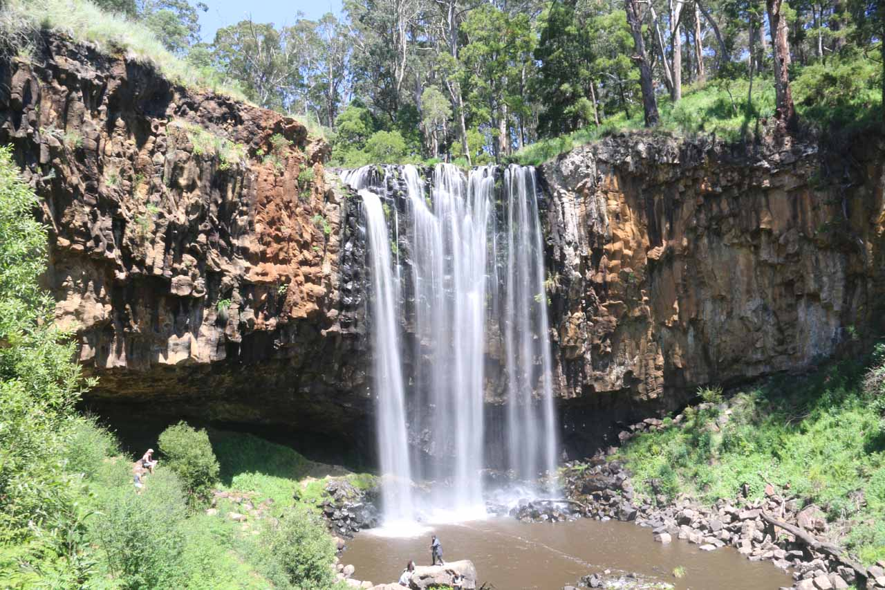 View of Trentham Falls as I was getting closer to its base where there were already dozens of people down here