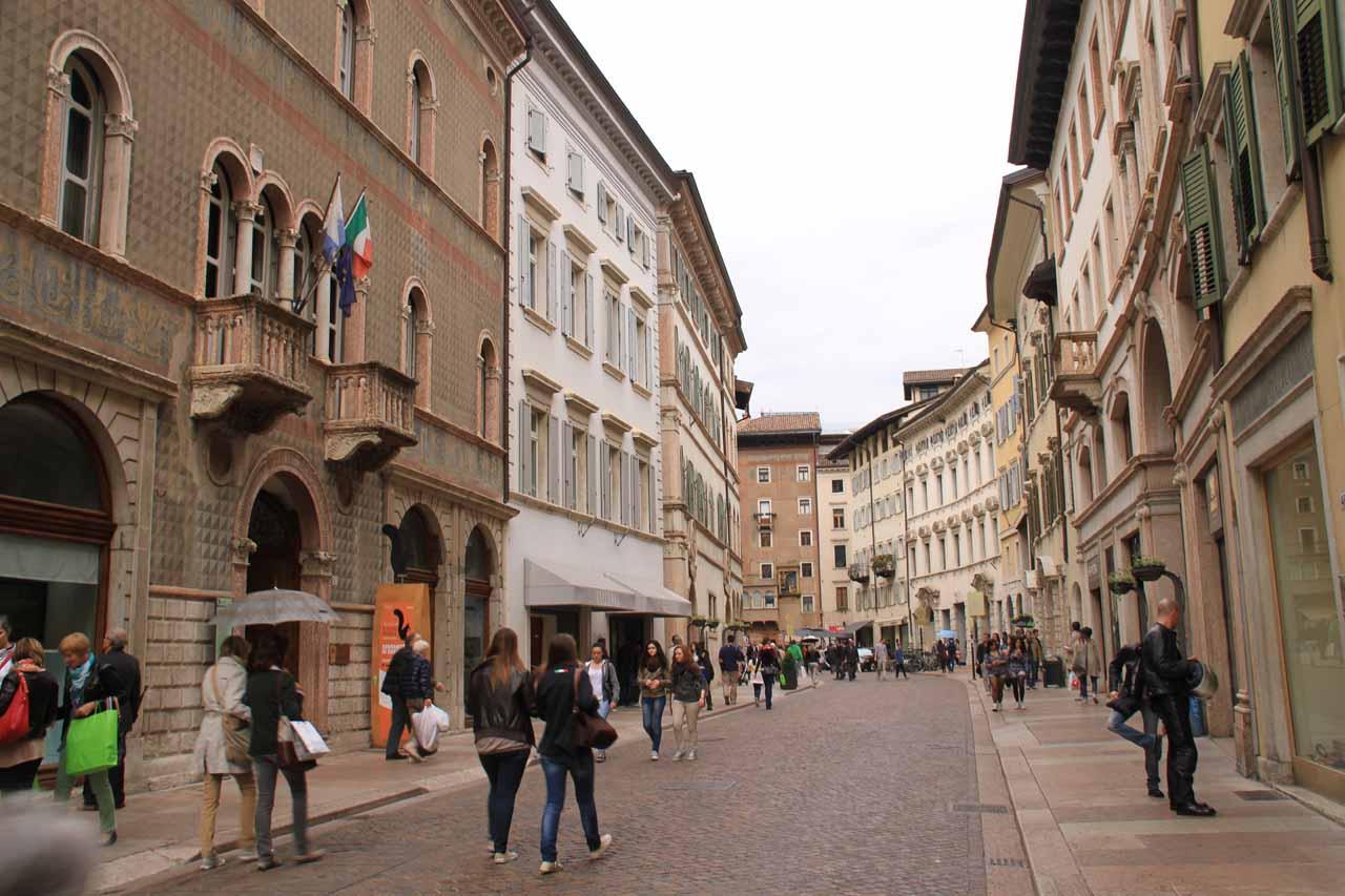More cobblestone arcades in the old city of Trento