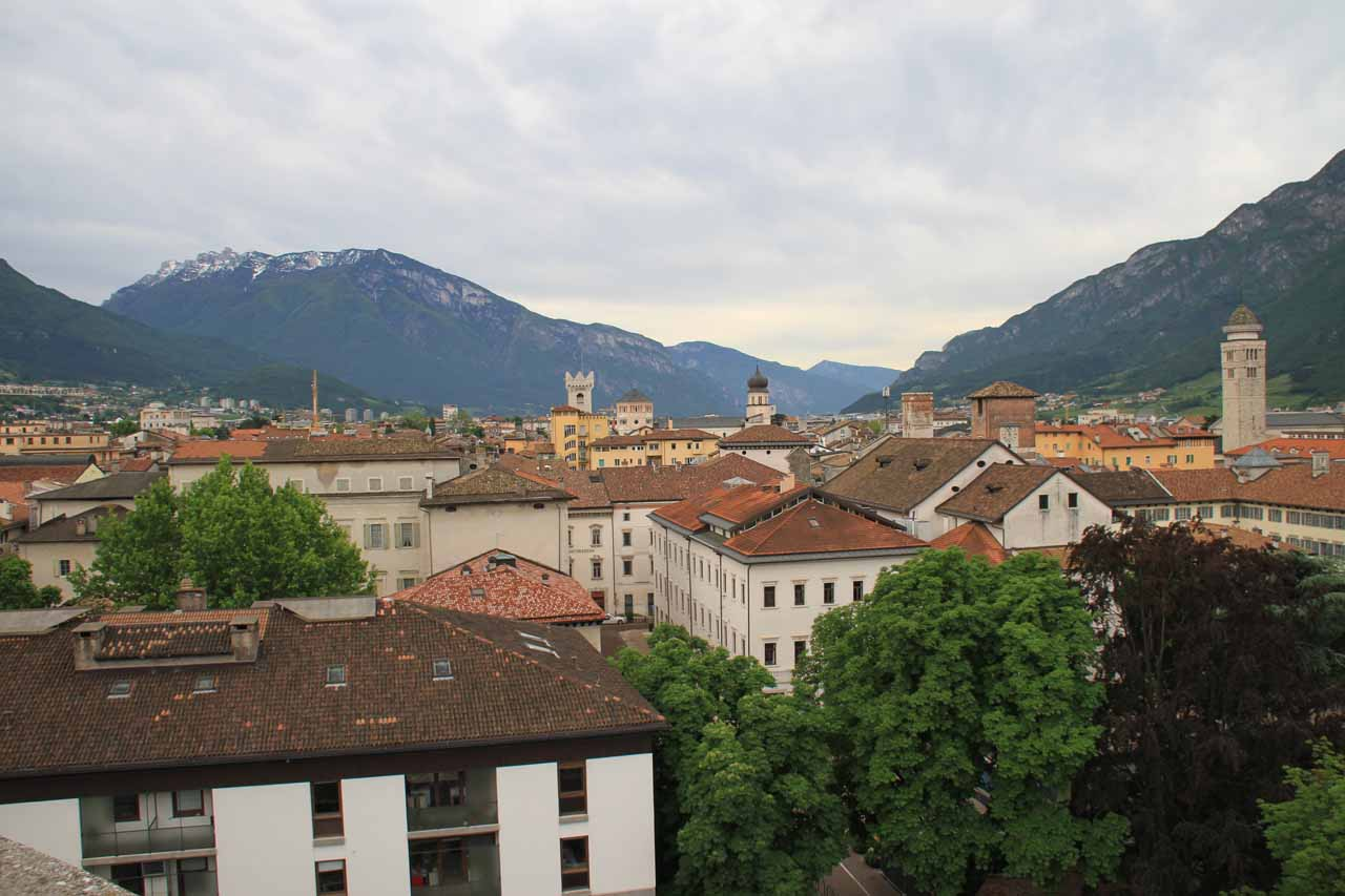 Looking towards the centro storico (historical center) of Trento from the rooftop of the Grand Hotel Trento