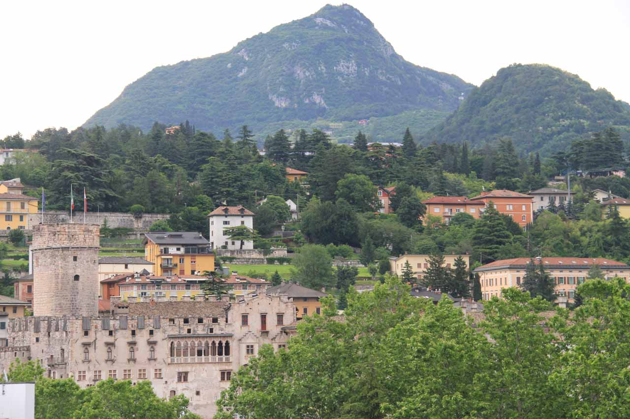 Looking towards the Castello di Buonconsiglio and some mountains from the rooftop of the Grand Hotel Trento