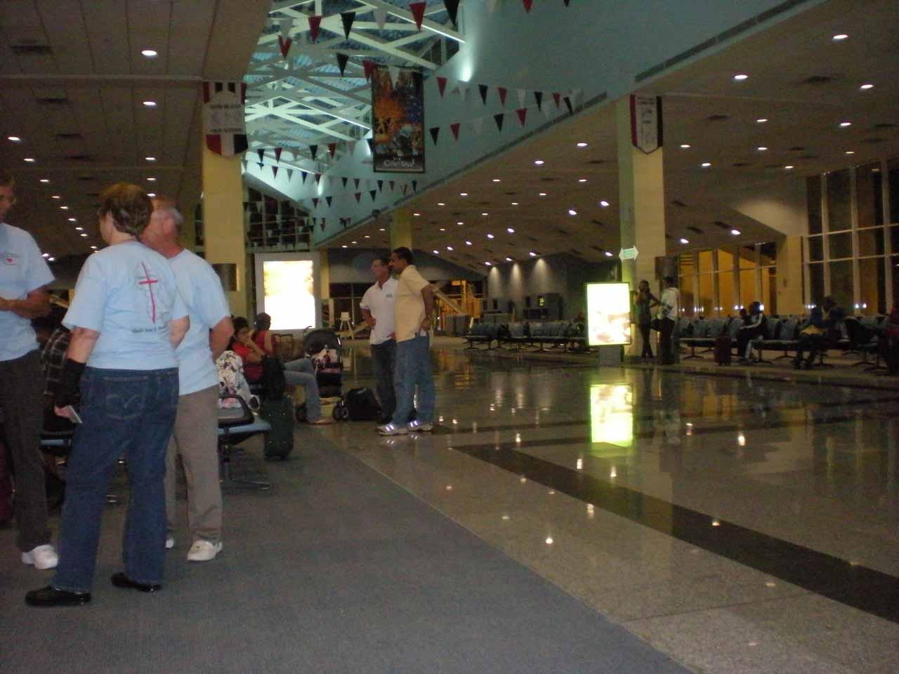 Waiting at the airport at Port of Spain, Trinidad and Tobago