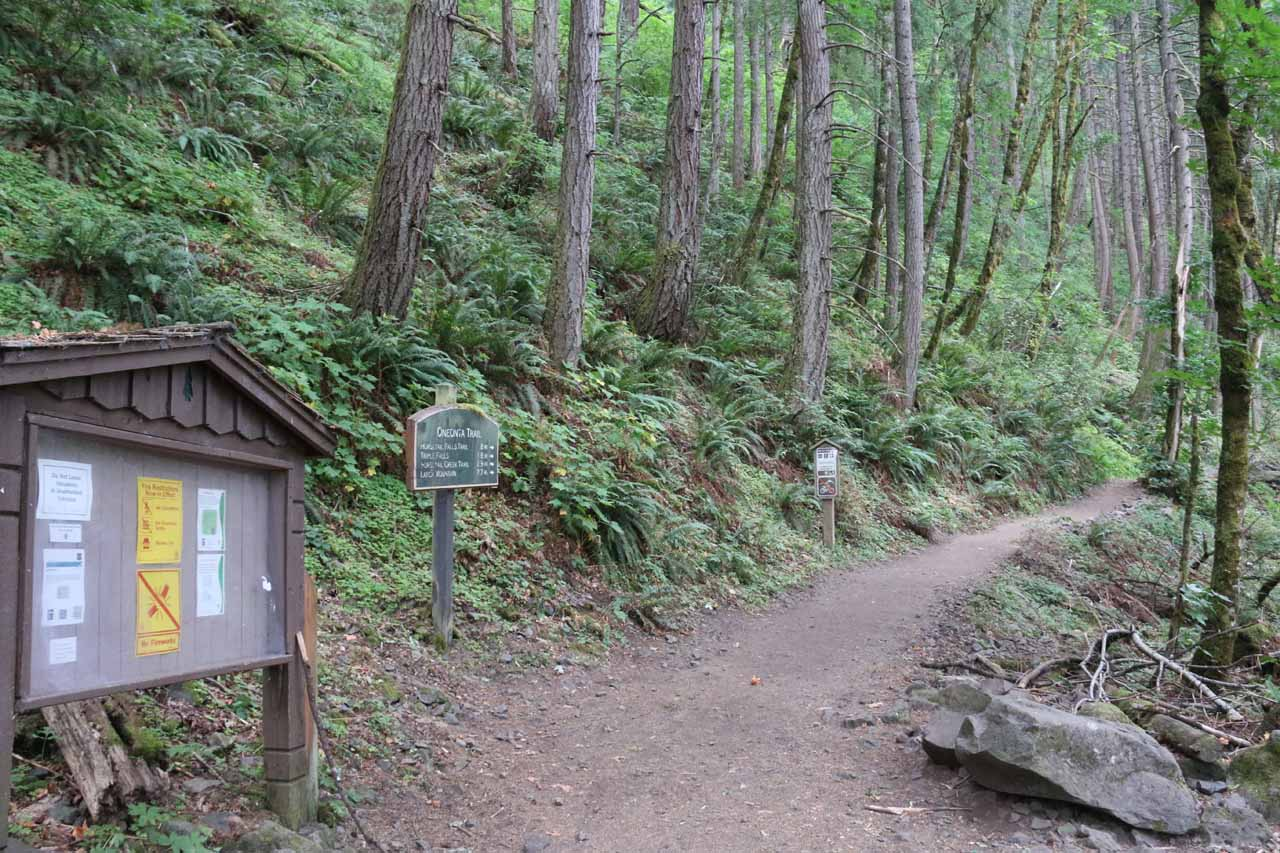 Signage at the Oneonta Trailhead