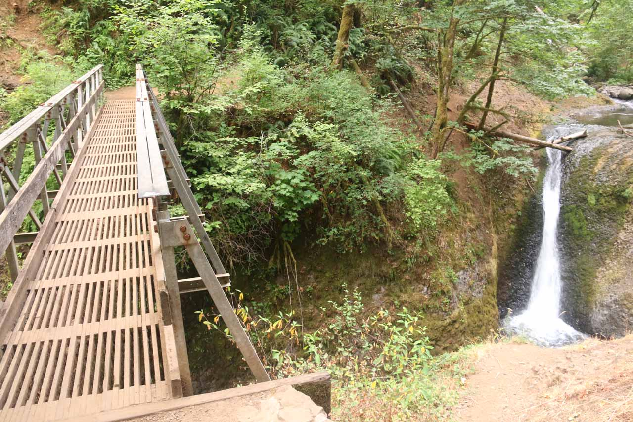 Context of the footbridge and the Middle Oneonta Falls seen together in mid-Summer flow during my August 2017 visit