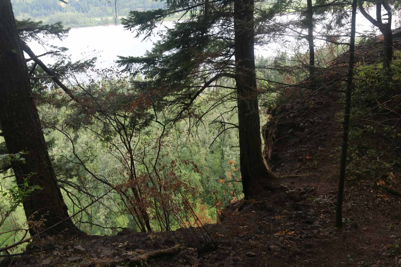 Context of the informal use trail and the cliff exposure while pursuing the 'Viewpoint'