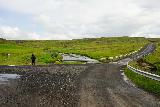 Trollafoss_004_08052021 - Mom going on a trail along the north side of the Leirvogsá from the Hrafnholar Farm