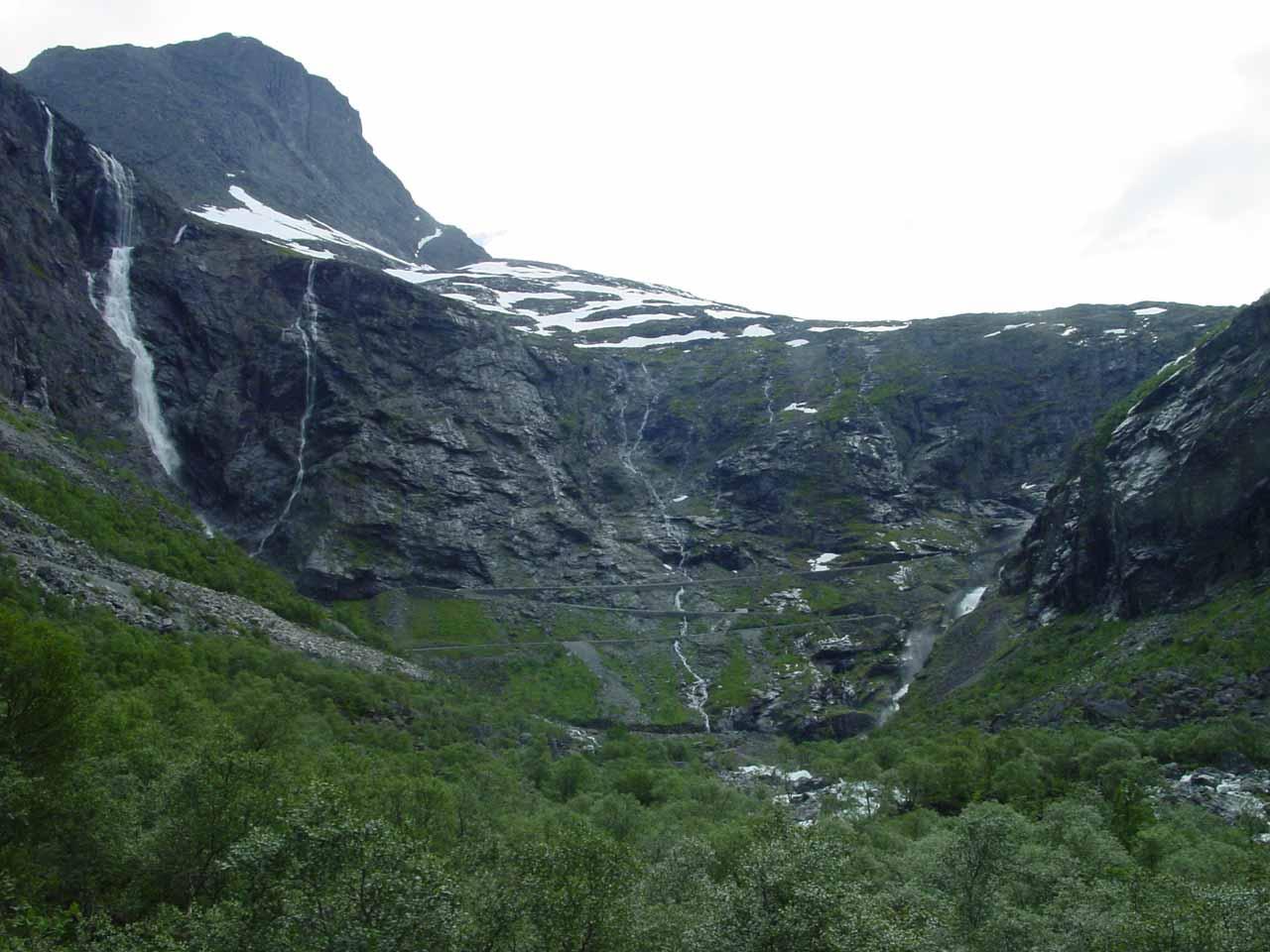 Approaching Trollstigen with Tverrdalsfossen to our left