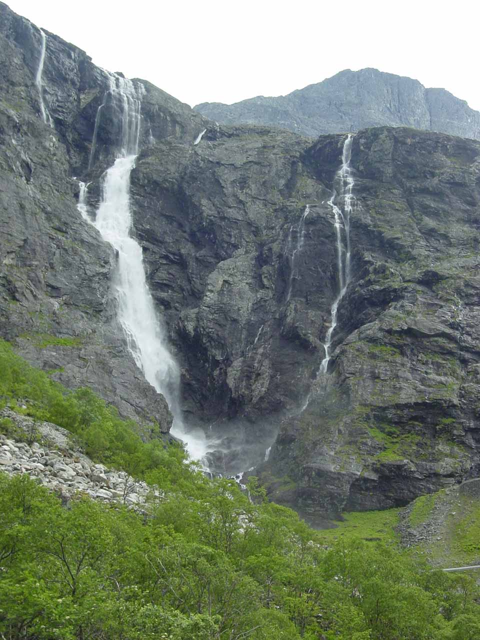 Looking towards Tverrdalsfossen to our left as we started to go up Trollstigen