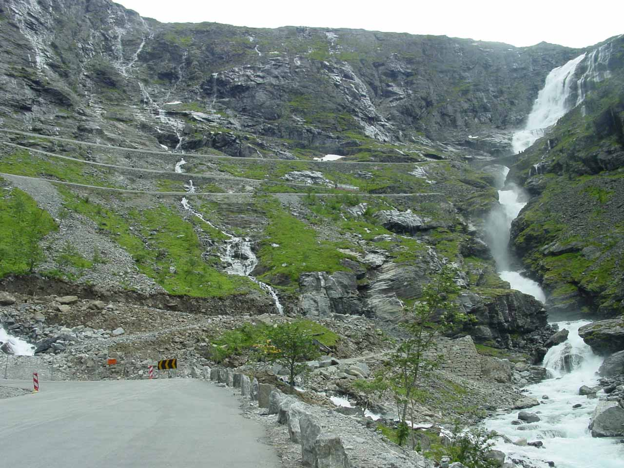 About to enter the first switchback of Trollstigen with this view of Stigfossen alongside the serpentine road