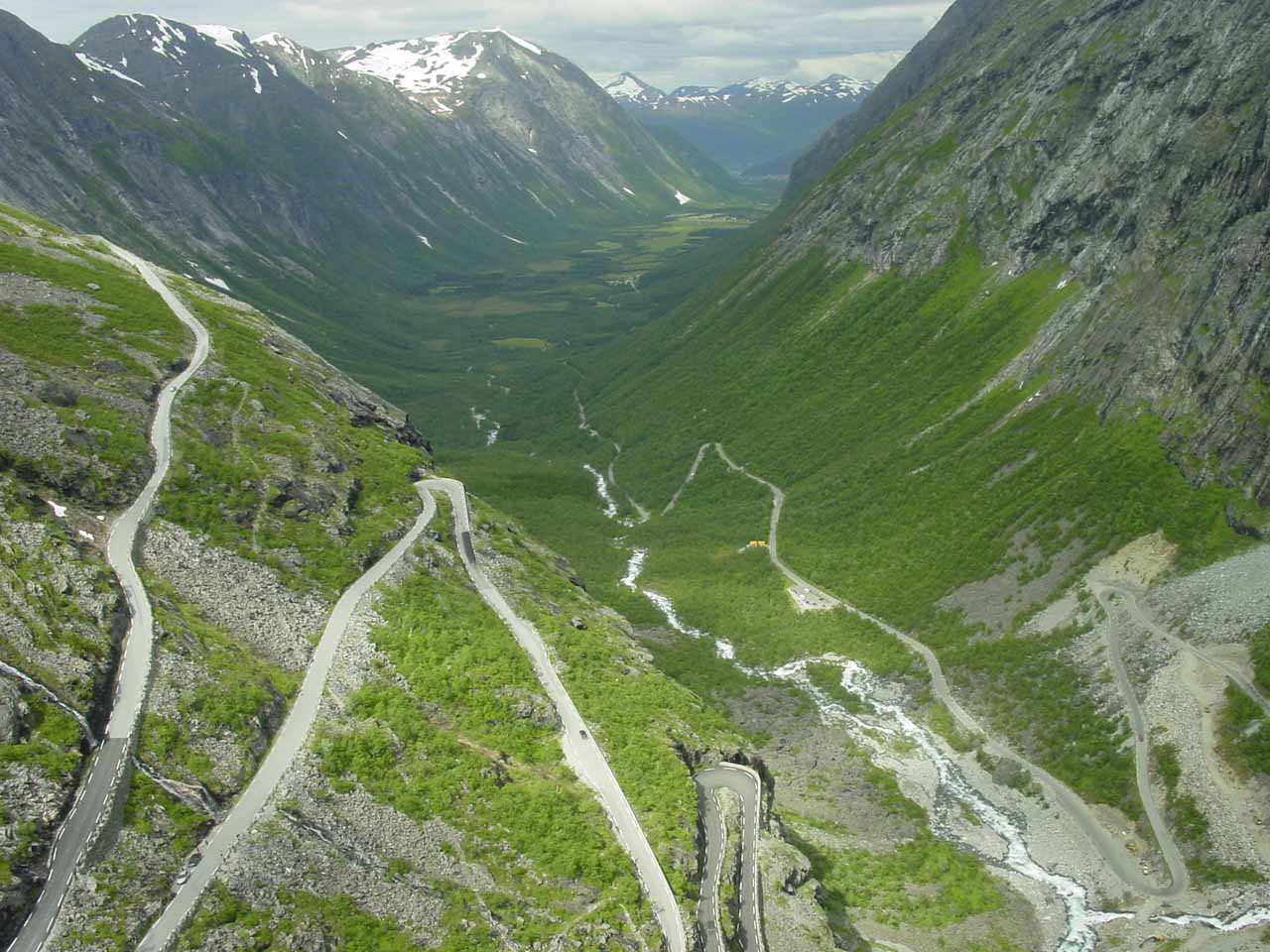 In Isterdalen Valley to the west of Romsdalen was the impressive serpentine road known as Trollstigen, which steeply wound its way up the head of the valley wall between a pair of waterfalls
