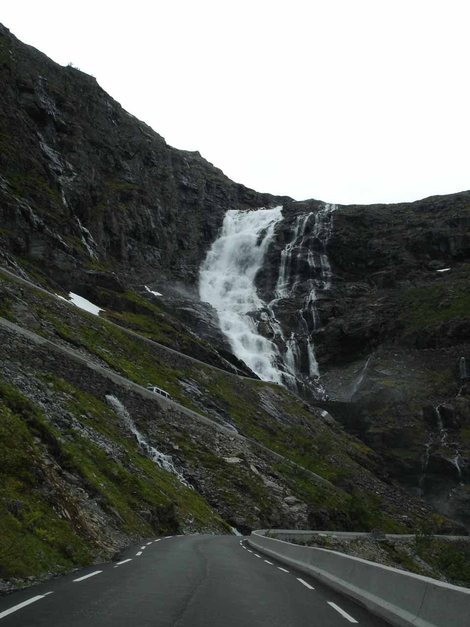 On Trollstigen with Stigfossen and more steep switchbacks further ahead