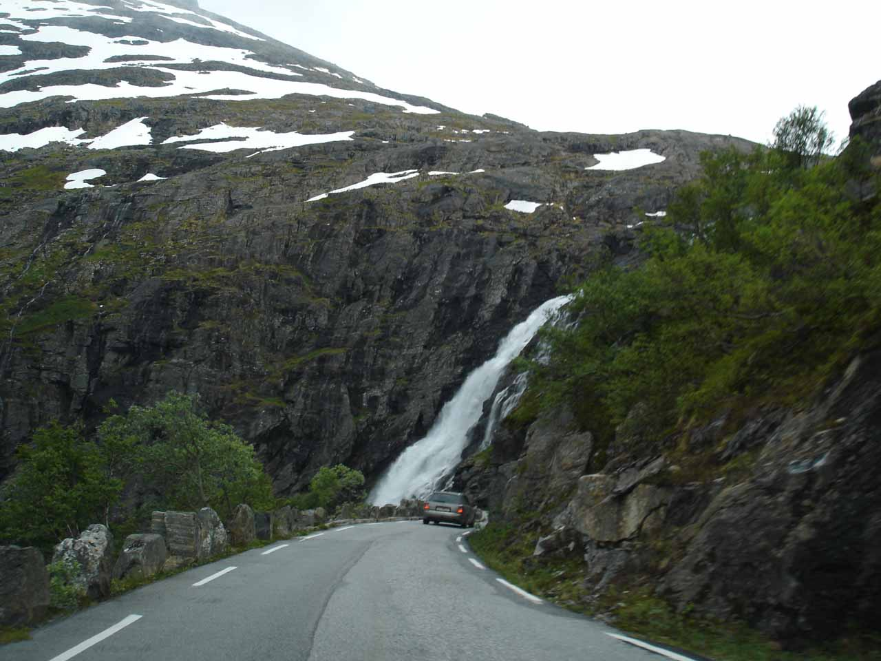 Following a car on our way down Trollstigen, using low gear to ensure we wouldn't wear out our brakes