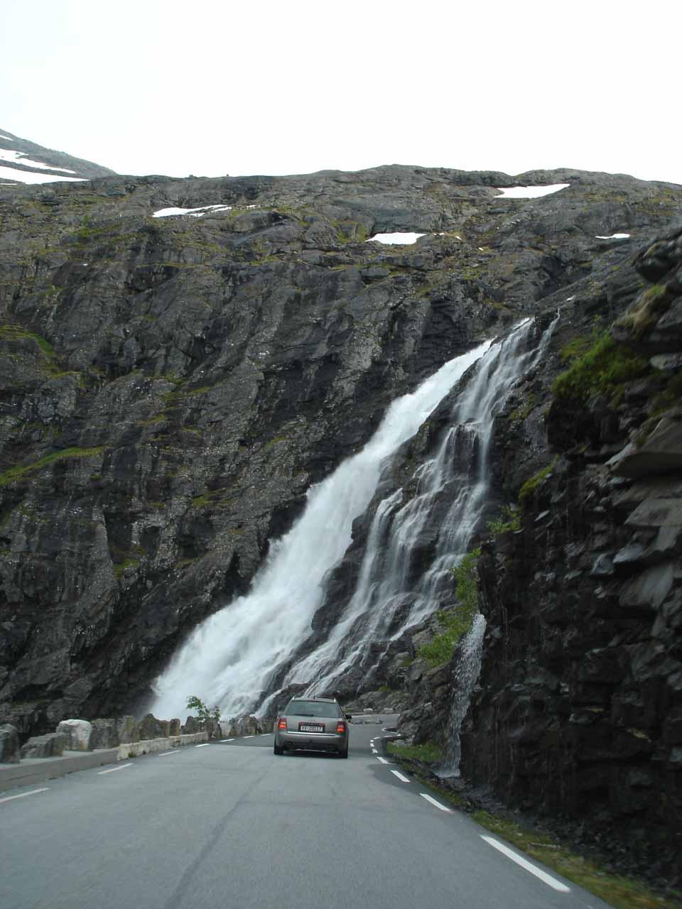 Still following a car on the narrow road as we were headed back down Trollstigen