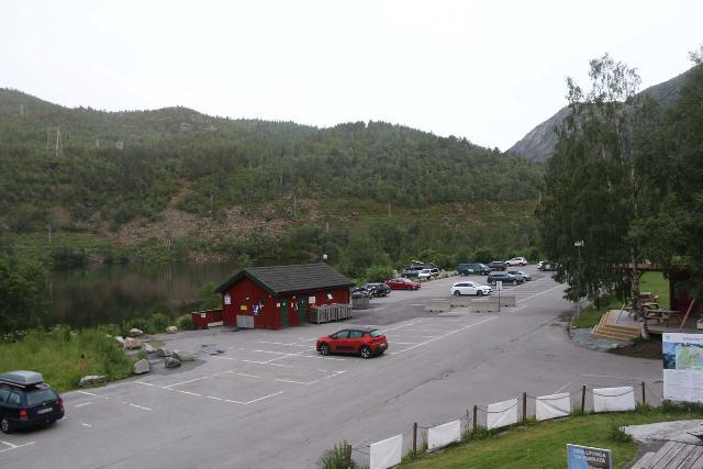 Trolltunga_007_06232019 - Looking back at the fairly sizable and developed P2 car park at Skjeggedal