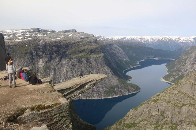 Trolltunga hanging over the man-made lake Ringedalsvatnet