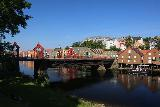 Trondheim_042_07122019 - More comprehensive look at the Gamle Bybro with colorful buildings across Nidelva under beautiful weather in Trondheim