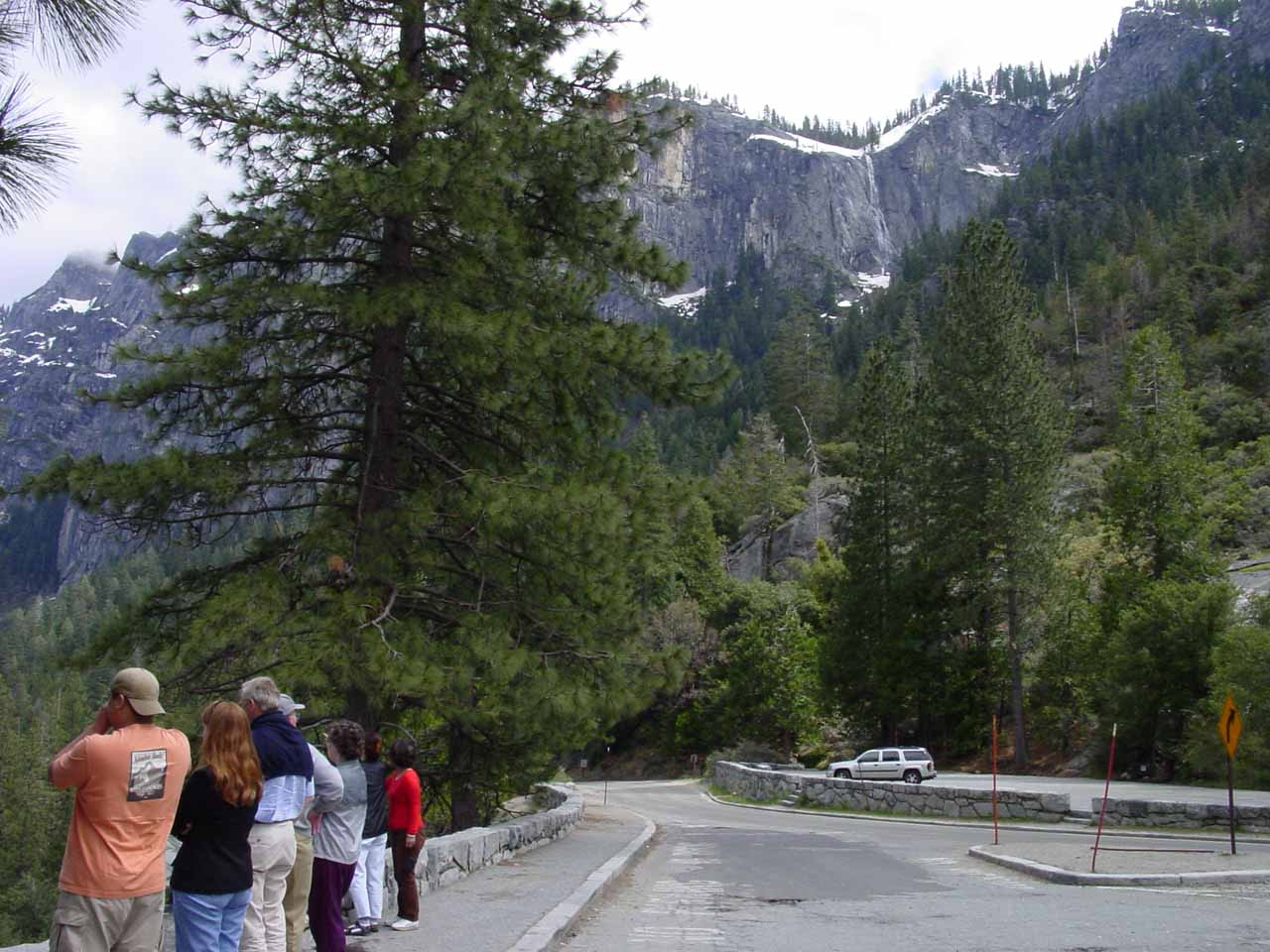 Perhaps this photo best illustrates why Silver Strand Falls is so overlooked.  Notice how everyone else is looking to the left towards Yosemite Valley, but no one is looking up at this falls