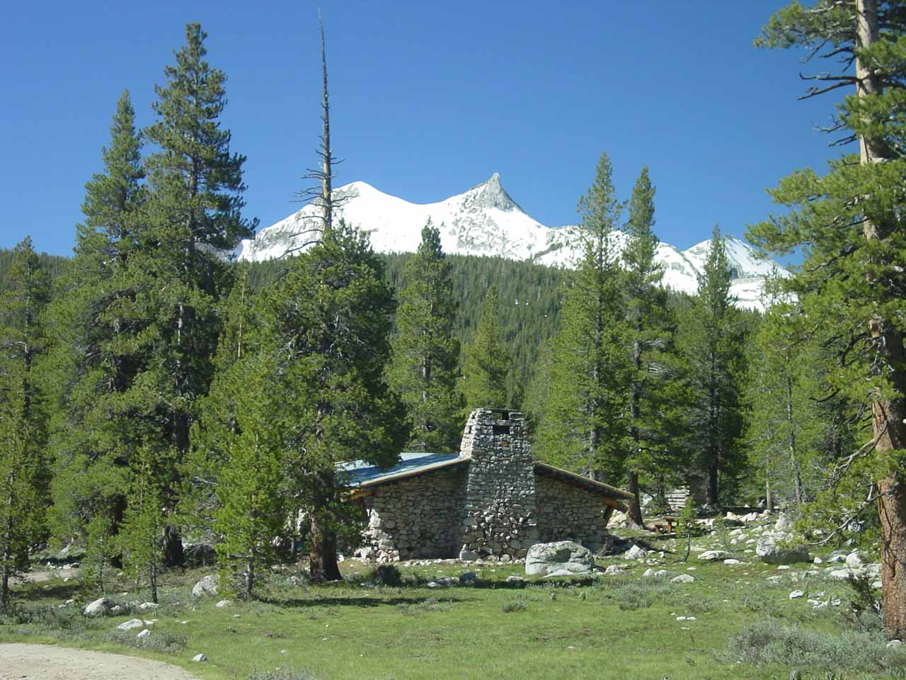 Early in our hike to Waterwheel Falls on our first attempt, we passed through Tuolumne Meadows which was surrounded by granite formations like Unicorn Peak behind this cabin