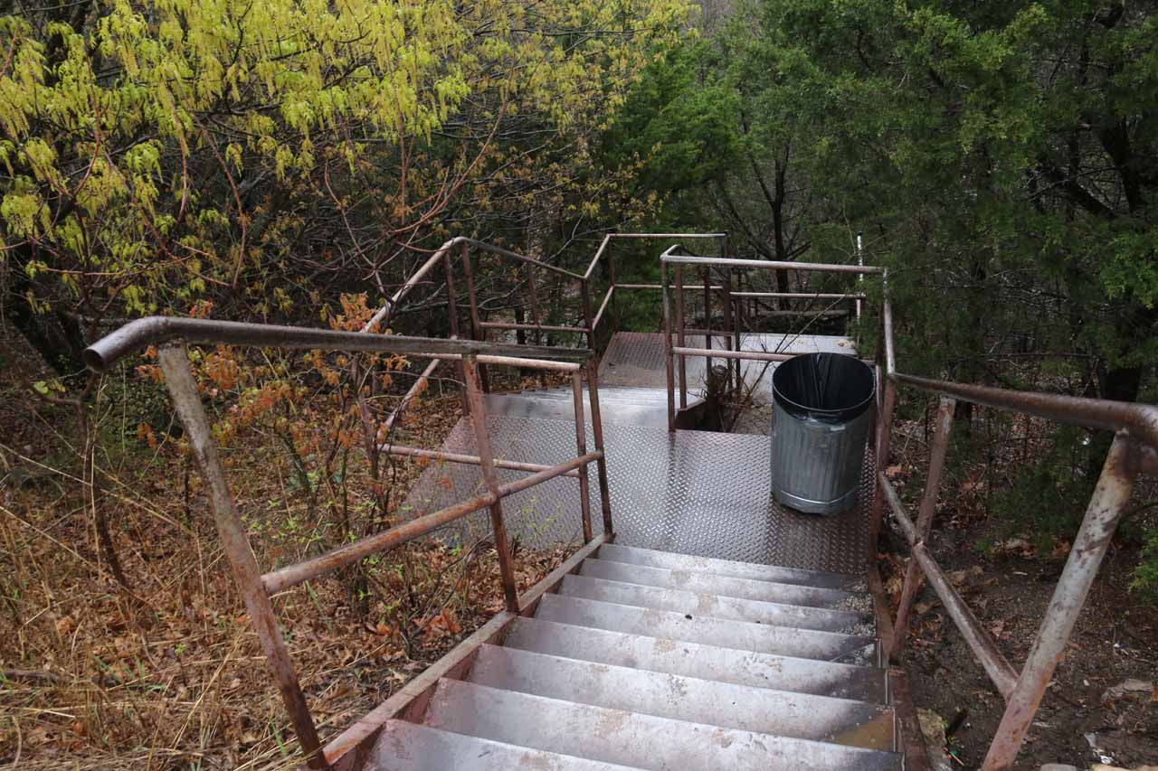 The path to Bridal Veil Falls Overlook went down these steps first