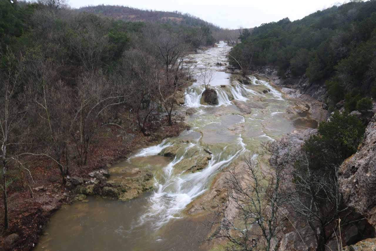 This series of cascades further upstream of Turner Falls was the Bridal Veil Falls. This view came from a different trail high up the hill that also included a natural arch