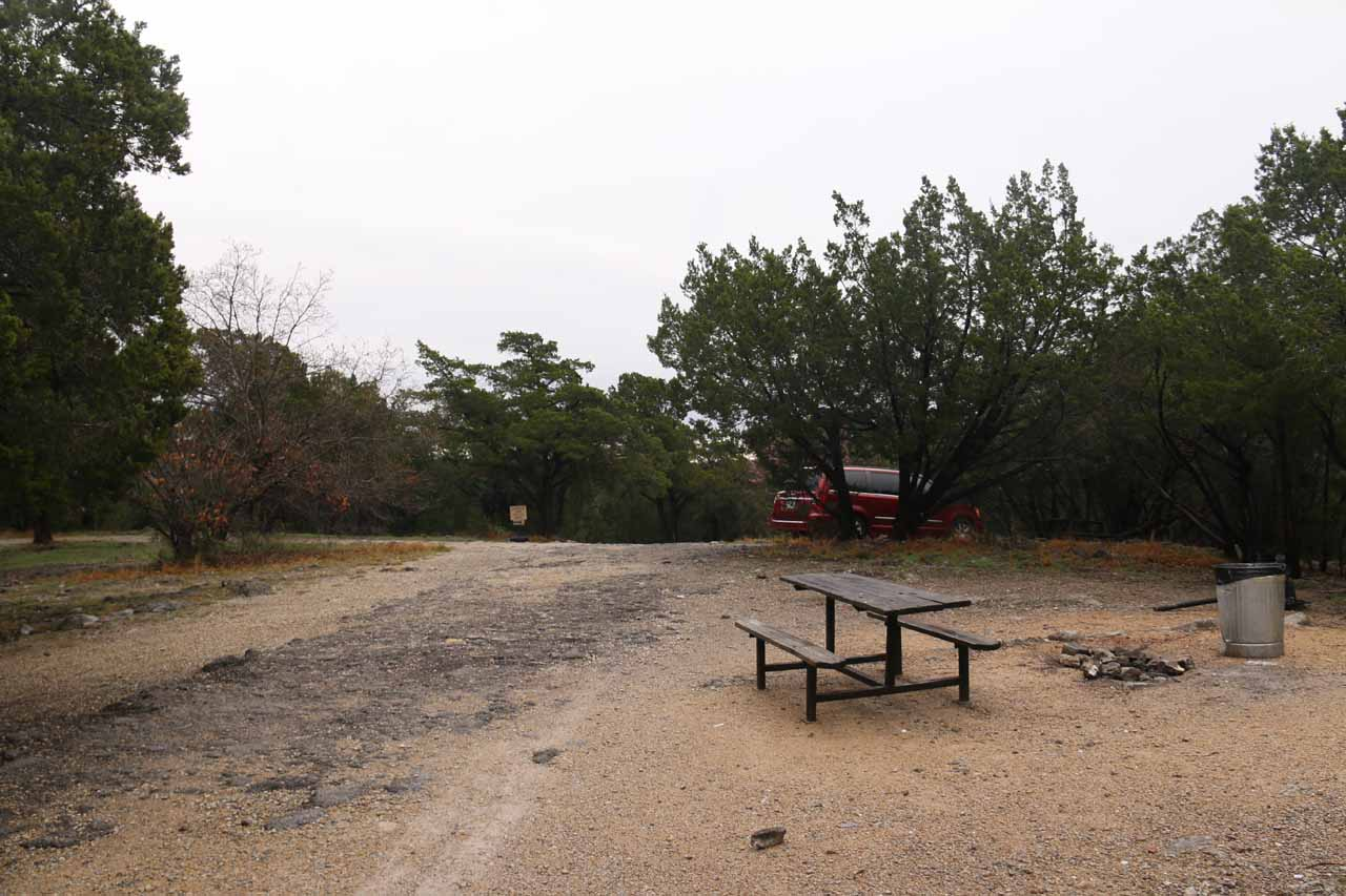 This was the picnic area with the rough parking