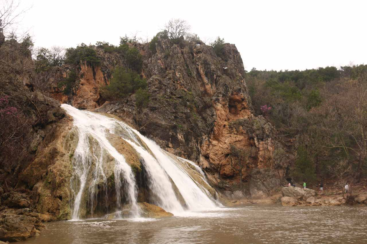 Angled view of Turner Falls from the opposite side of the bridge and plunge pool
