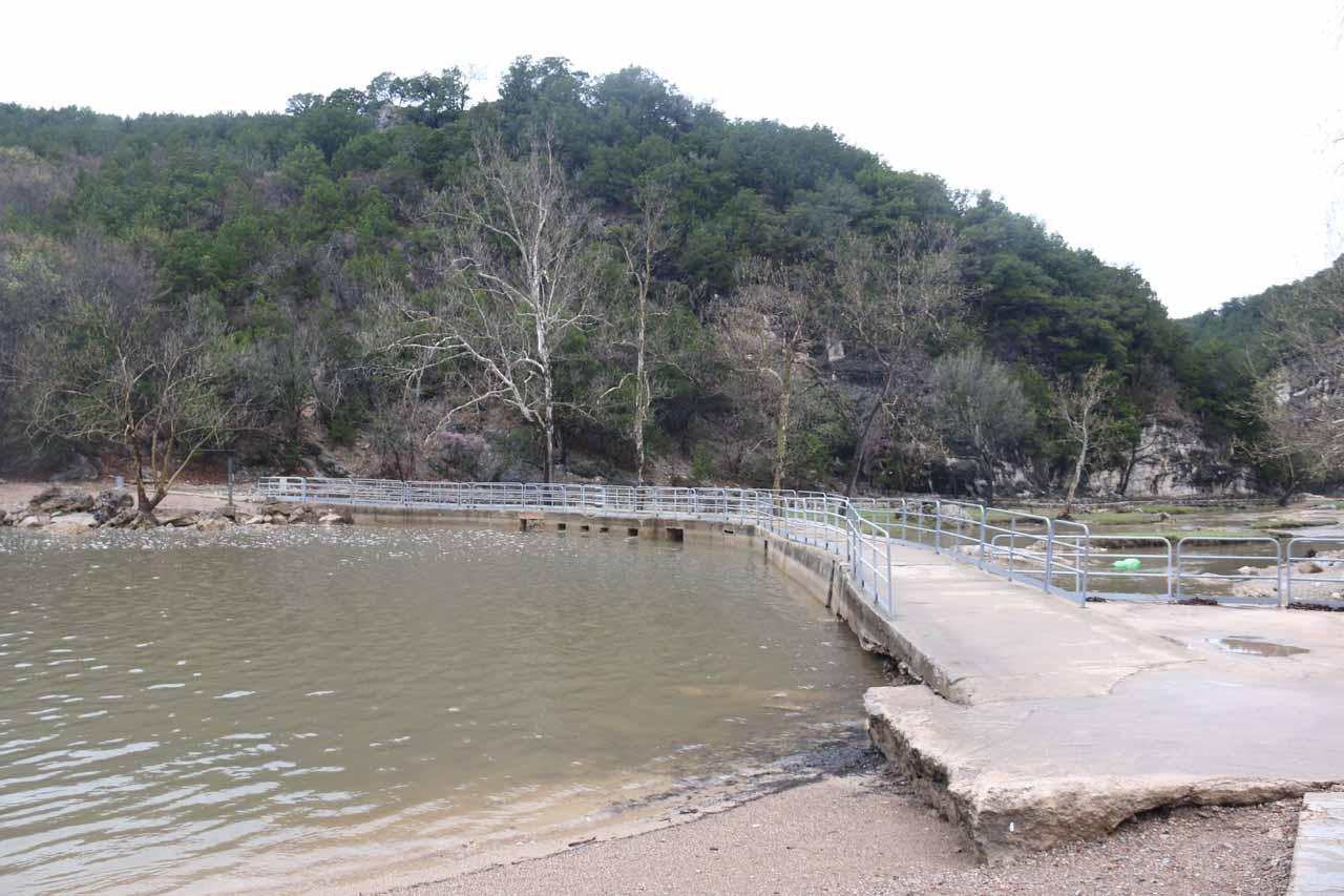 Looking back at the bridge I had crossed to get across Honey Creek