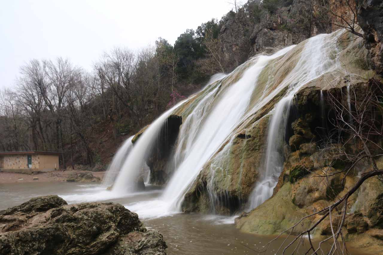 View of the profile of Turner Falls before crossing the bridge