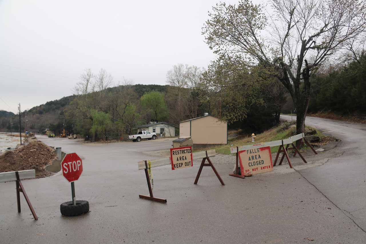 They closed the main access road to Turner Falls during our visit so we had to go up the hill to the right of this closure and access the waterfall by an alternate way