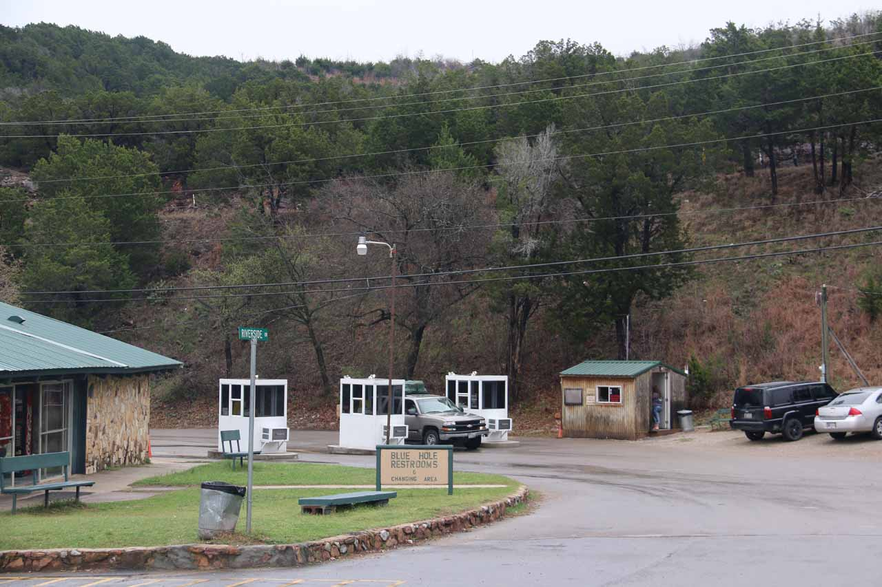 Looking back at the entrance kiosks where we had to pay the entrance fee to the Turner Falls Park