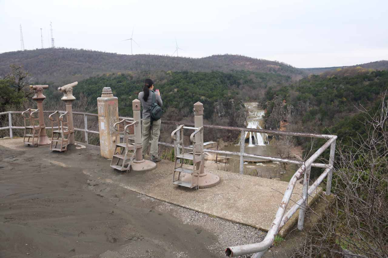 Julie checking out the overlook of Turner Falls Park near the curio shop